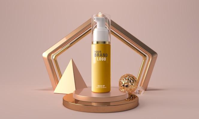 化妆品面孔泡沫瓶3d回报样机模板