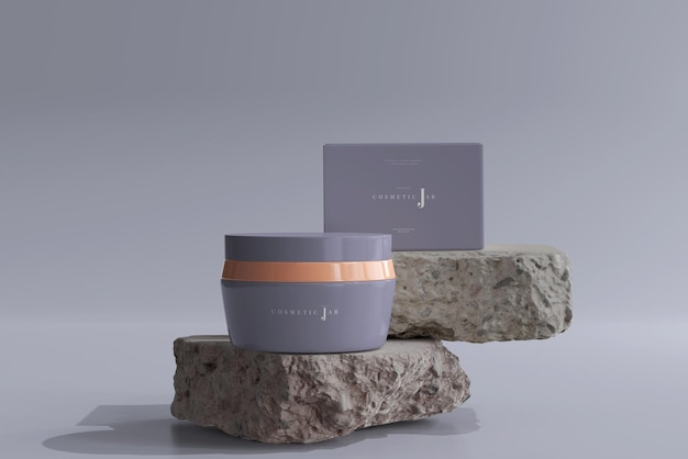 岩の上の化粧品の瓶と箱のモックアップ