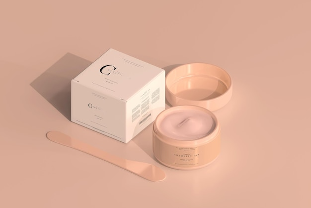 Cosmetic jar and box mockup