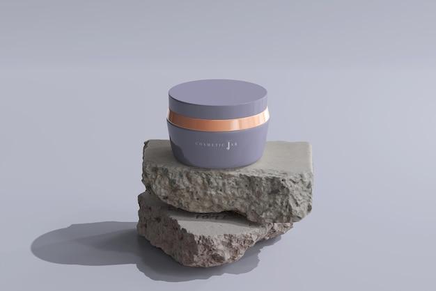 岩と化粧品の瓶のモックアップ