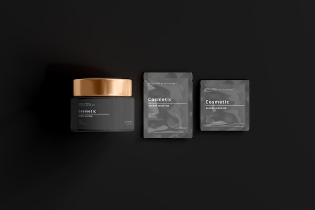 Cosmetic jar and sachet mockup