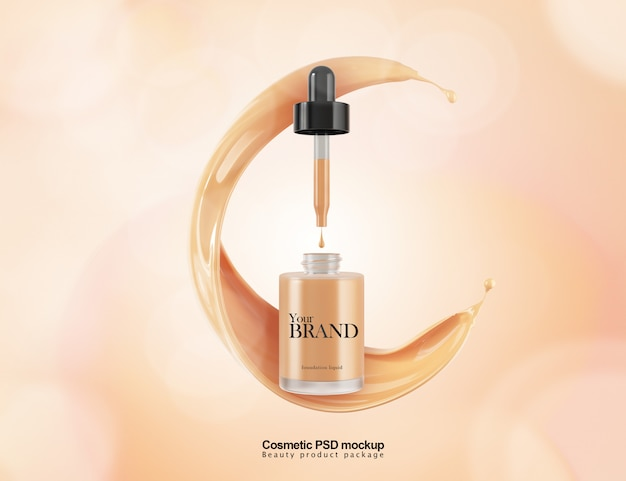 Cosmetic liquid foundation mockup template package design.
