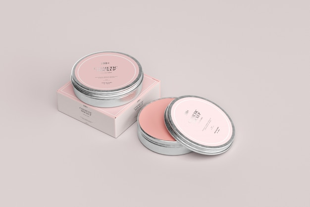 Cosmetic metal jar mockups