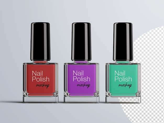 Cosmetic mockup of front view nail polish bottle packaging isolated
