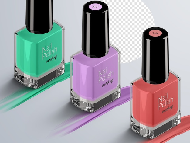 Cosmetic mockup of isometric nail polish bottles packaging isolated with strokes
