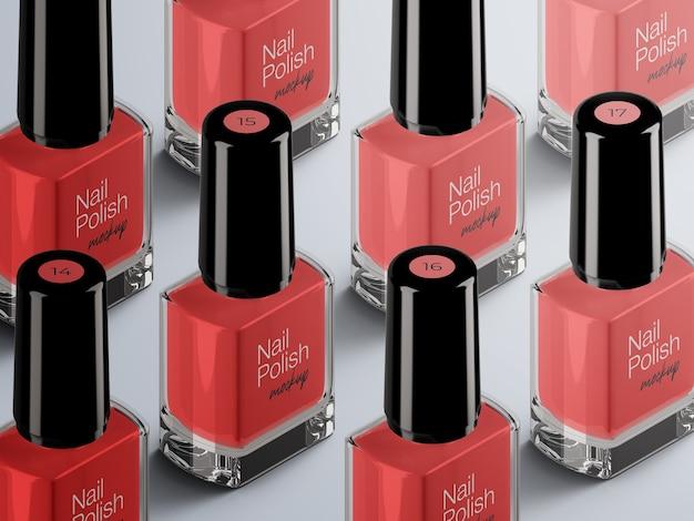 Косметический макет редактируемой красочной упаковки бутылок лака для ногтей