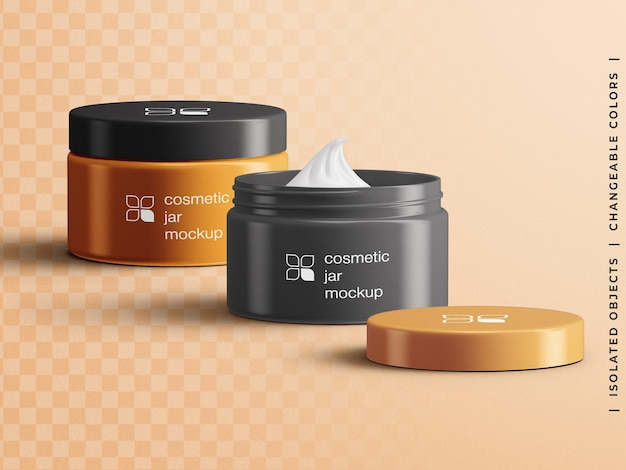 Cosmetic opened and closed face cream jar packaging container mockup scene creator isolated