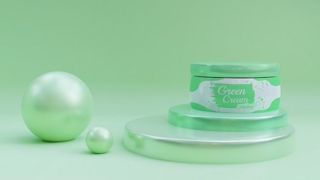 Cosmetic pot mockup on green podium