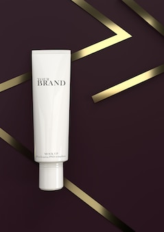 Cosmetic premium skin care moisturizing on gold stripes surface