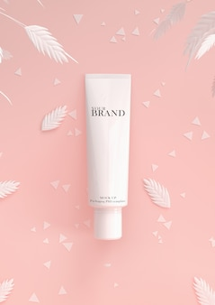 Cosmetic premium skin care moisturizing on leaves surface