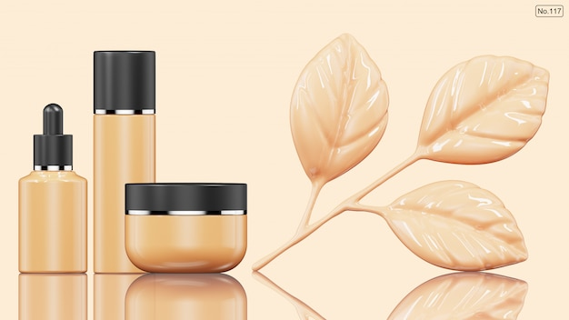Cosmetic product and foundation in shape of leaf . 3d render