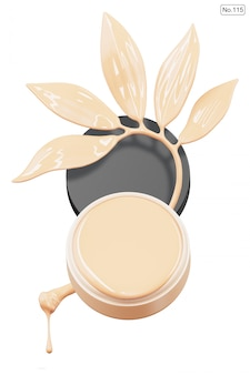 Cosmetic product and foundation in shape of leaf on white . 3d render