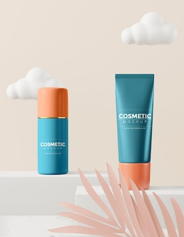 Cosmetic product packaging mockup