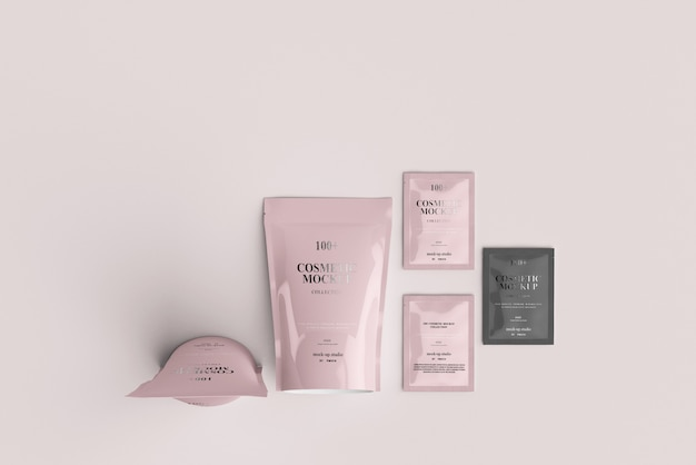 Cosmetic product packets mockups
