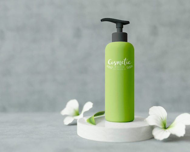 Cosmetic product on a stand with flowers