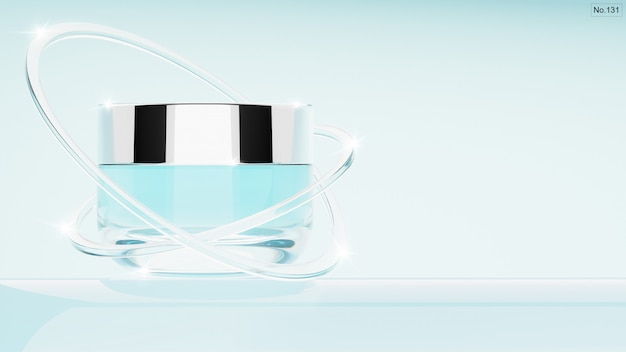Cosmetic product with glass rings on light blue . 3d render