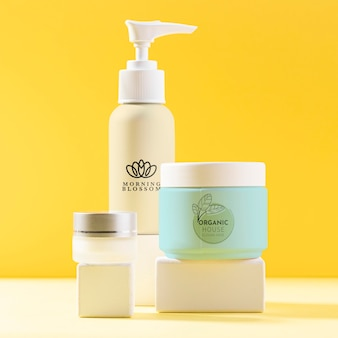 Cosmetic products in containers