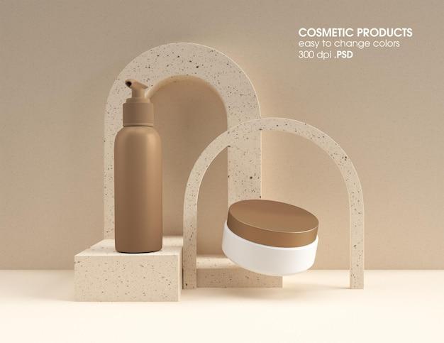 Рендеринг дизайна макета насоса косметической продукции и баночки с кремом