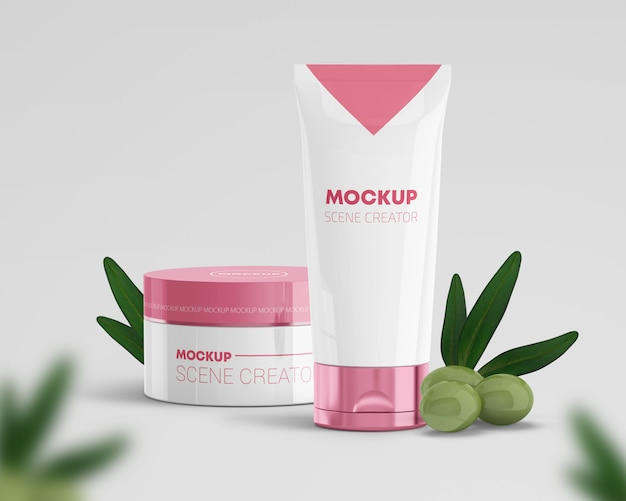 Cosmetic products scene creator with olives