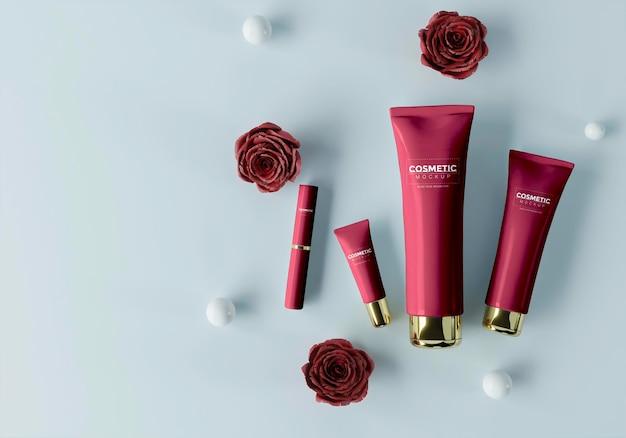 球体と花のある化粧品