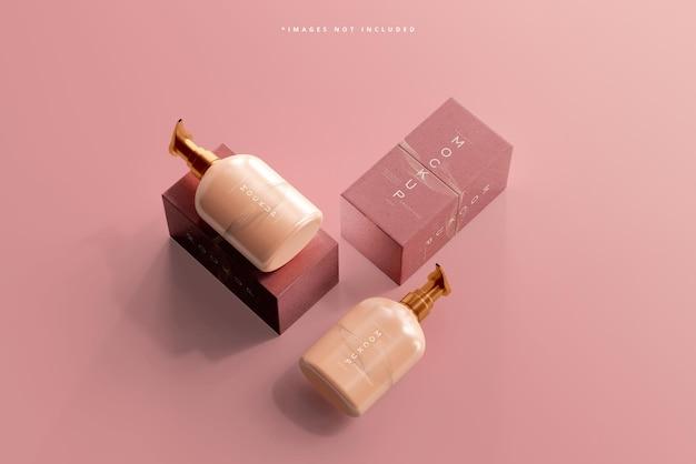 化粧品ポンプボトルとボックスのモックアップ