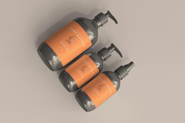 Мокапы бутылочек с косметическими помпами и бутылочек с распылителем