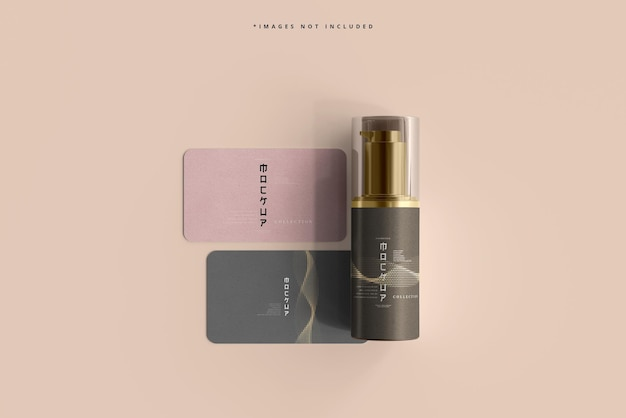 Cosmetic pump bottle and business cards mocku
