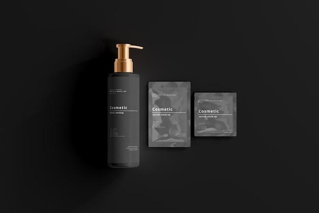 Cosmetic pump bottle and sachet mockup
