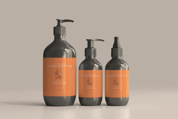 Cosmetic pump bottle and spray bottle mockups