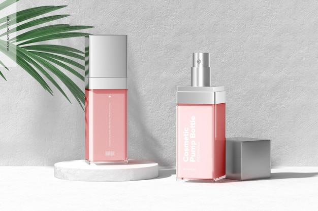 Cosmetic pump bottles mockup, opened and closed