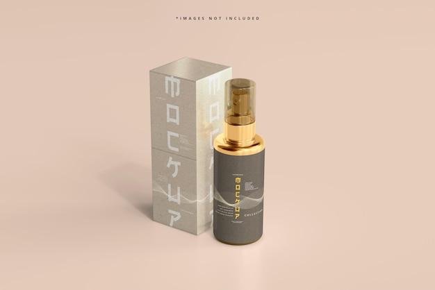 Flacone spray cosmetico e mockup di scatola