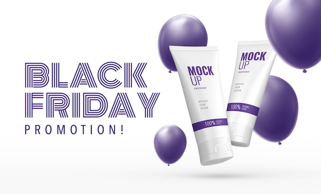 Cosmetic squeeze tube mockup banner