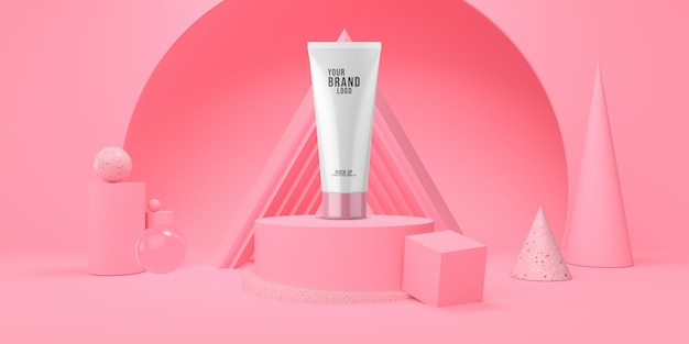 Cosmetic template abstract pink studio with podium and geometric shape pastel color 3d render