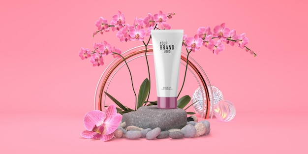 Cosmetic template pink studio with rock podium and orchid flowers pastel color 3d render