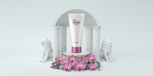 Cosmetic template studio with podium and colums white color 3d render