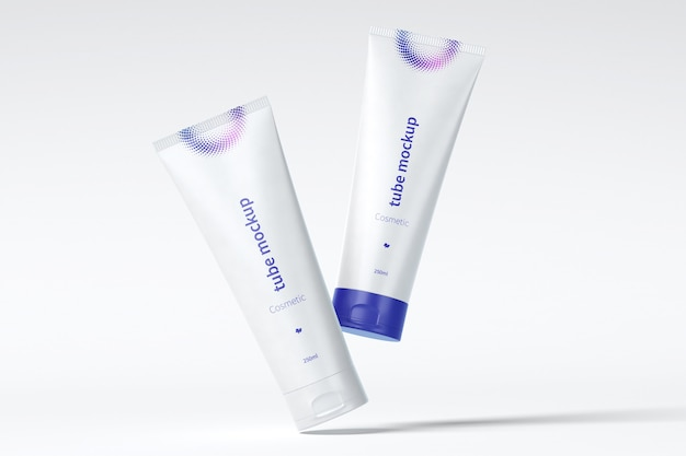 Cosmetic tube mockup floating