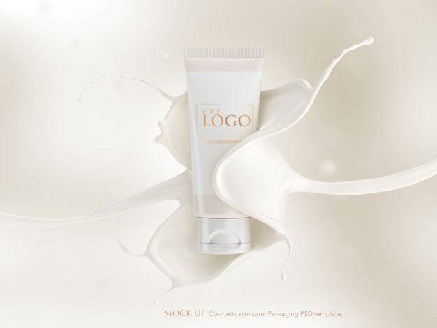 Cosmetic tube mockup template with splashing of milk cream.