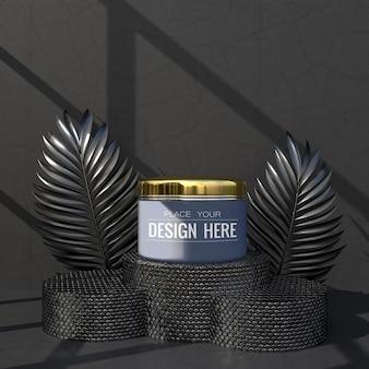 화장품 브랜딩 모형. 브랜딩 및 아이덴티티를위한 패키지입니다. 디자인 준비