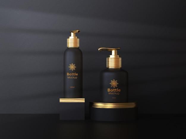 Cosmetics branding mockups with golden color