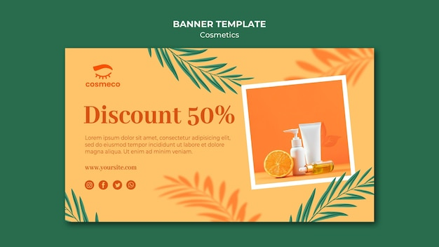 Cosmetics discount banner template