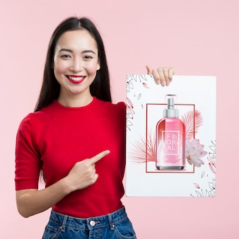 Cosmetics mock-up banner and cute girl
