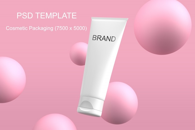 Cosmetics packaging mockup pink sphere psd template