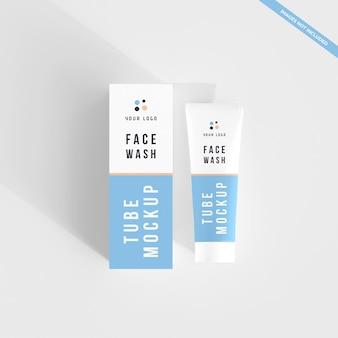 化粧品チューブと洗顔クリームのボックスモックアップ