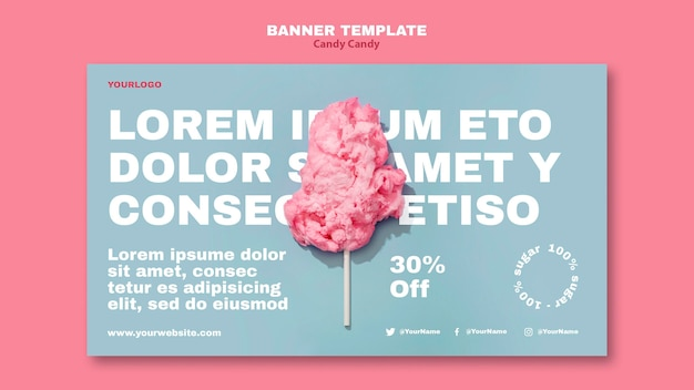 Cotton candy on stick banner template