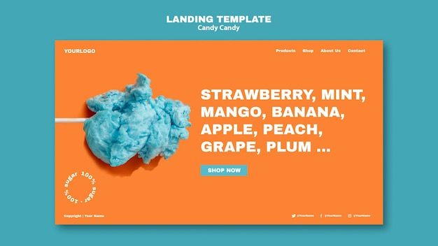Cotton candy on stick landing page template