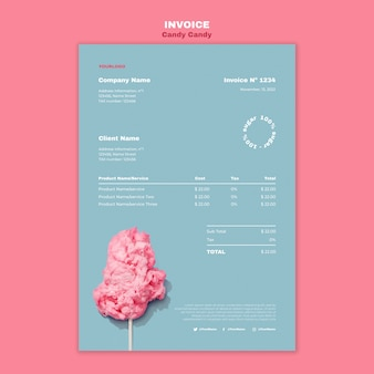 Cotton candy on stick poster print template