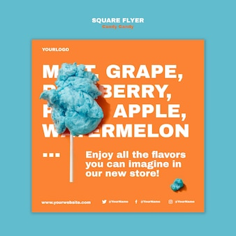 Cotton candy on stick square flyer template