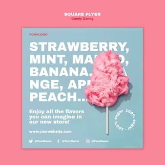 Cotton candy on stick square flyer