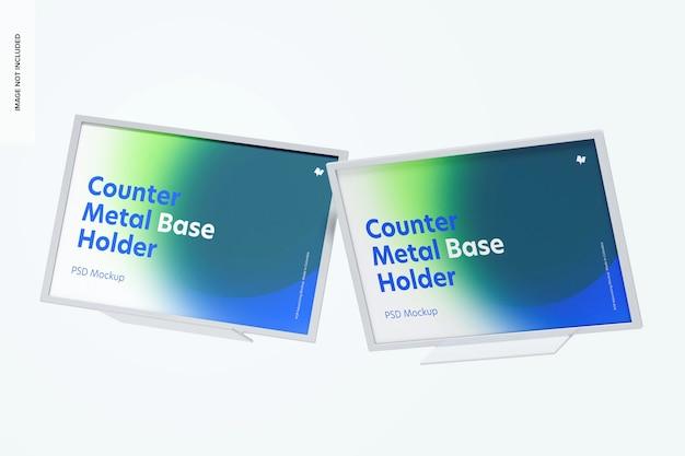 Counter top metal base holders mockup, floating