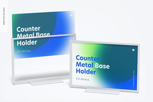 Counter top metal base holders mockup